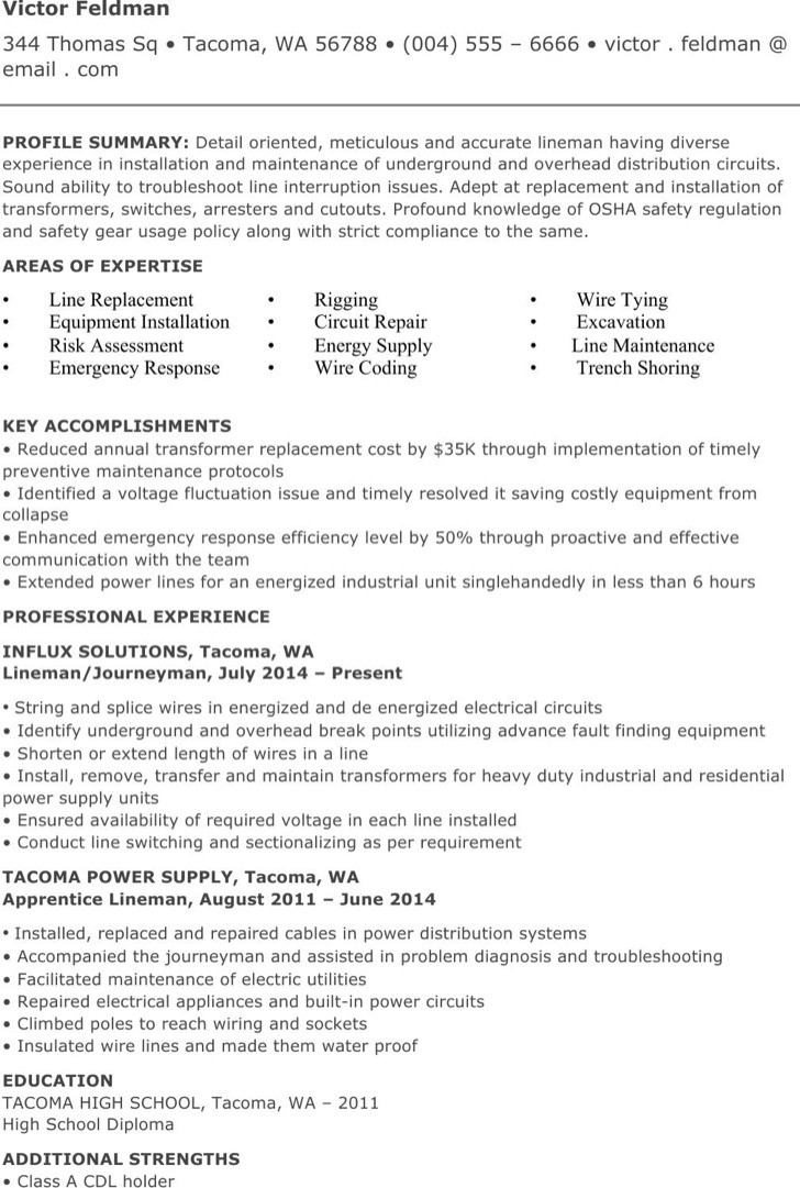 Electrical Lineman Resume