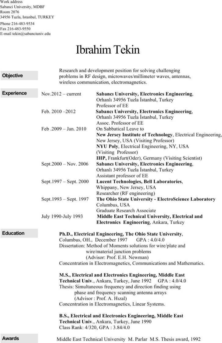 Electronics Engineer Resume