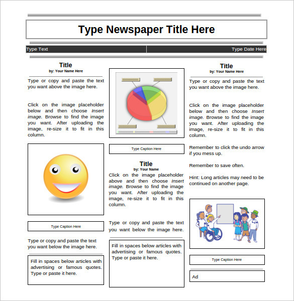 Elementary Student Newspaper Template Google Doc Download