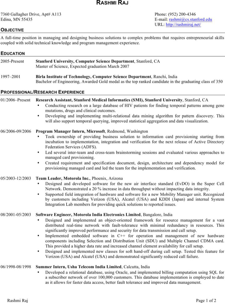 Embedded Software Engineer Resume