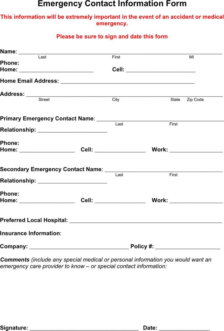 Emergency Contact Form 1