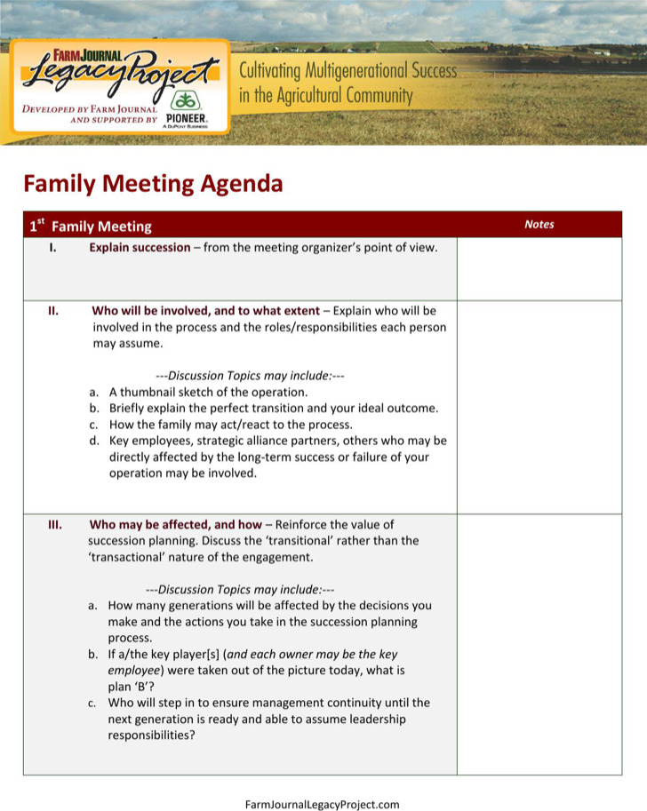 Emergency Family Meeting Agenda Example
