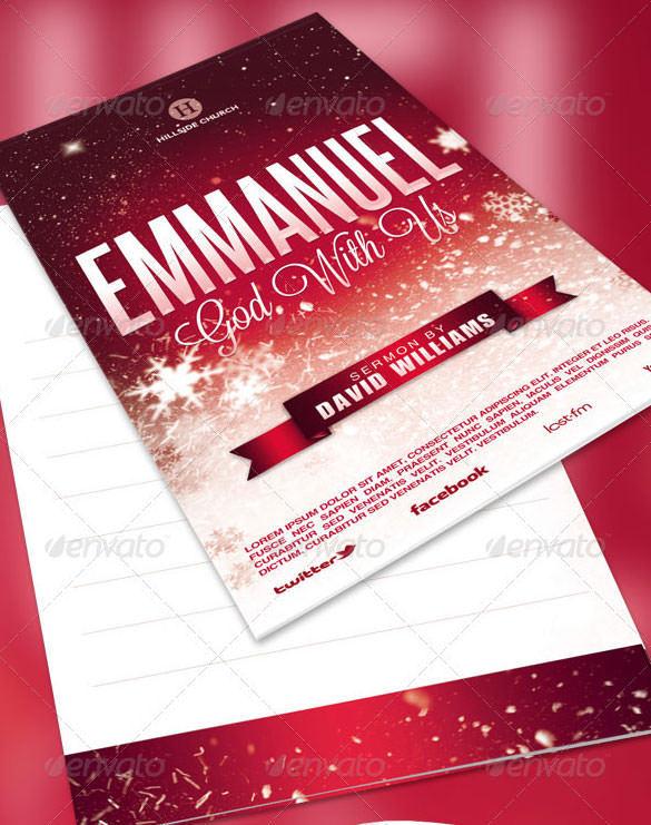 Emmanuel Church Bulletin Broucher Template PSD Download