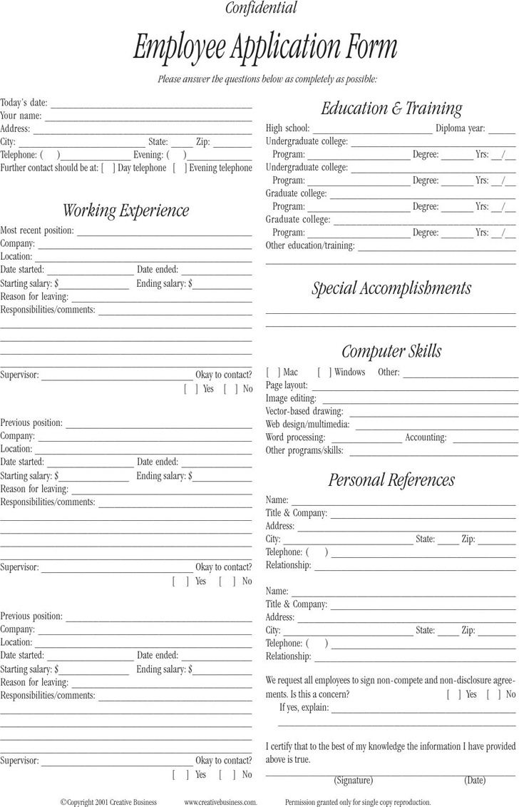 Employee Application Form