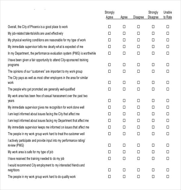 Employee Attitude Blank Survey Example Template