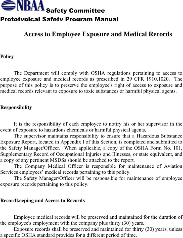 Employee Exposure And Medical Records Template