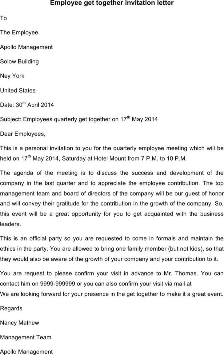 Employee Get Together Invitation Letter Template