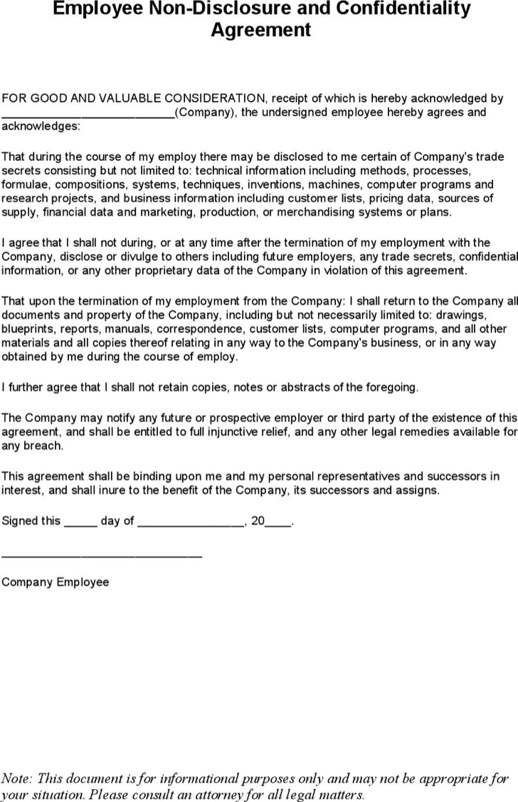 9 Standard Non Disclosure Agreement Form Free Download