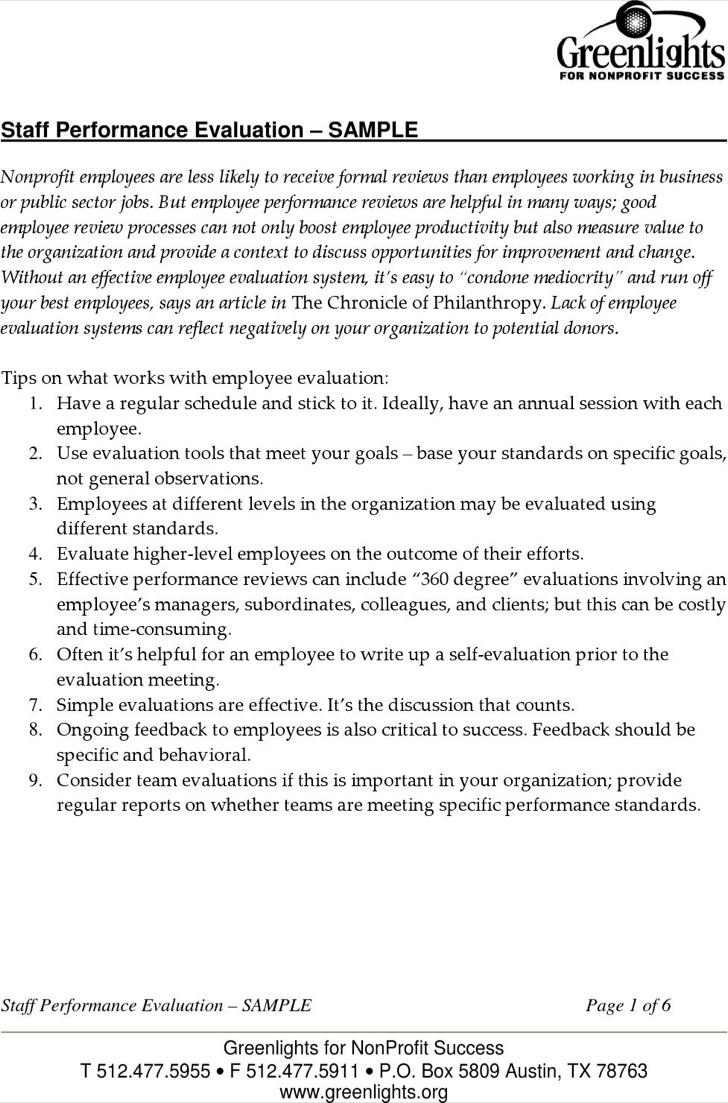 Employee Performance Evaluation Write Up Template Sample