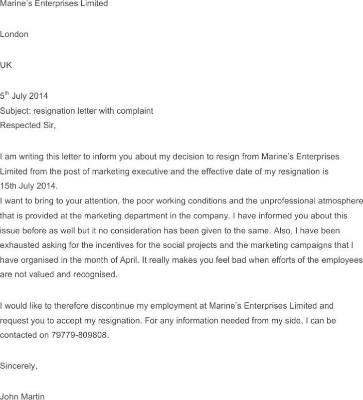 Employee Resignation Complaint Letter Template