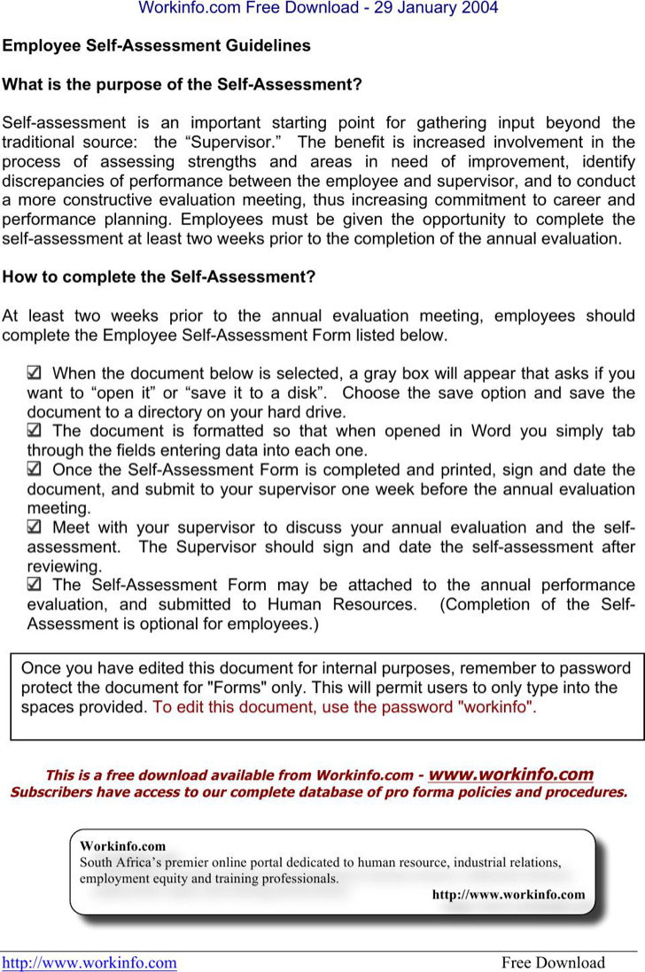 Download Self Assessment Templates for Free - TidyTemplates