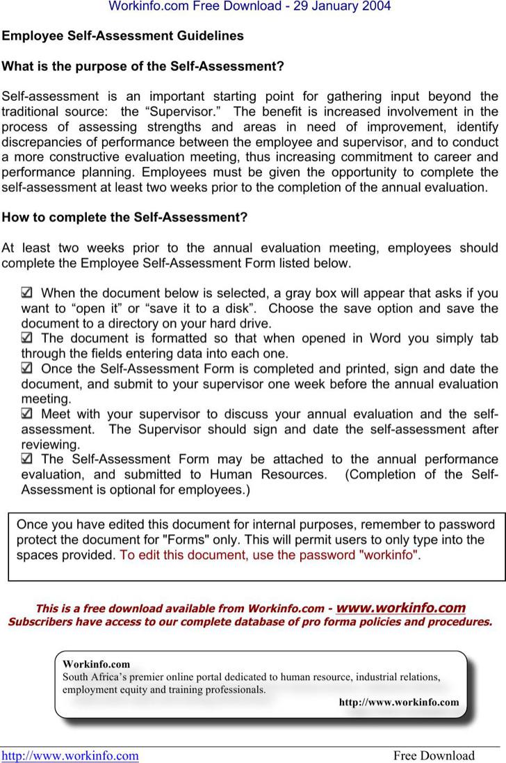 Employee Self Assessment Template