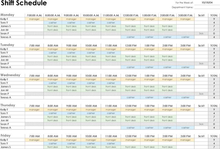 Employee Shift Schedule