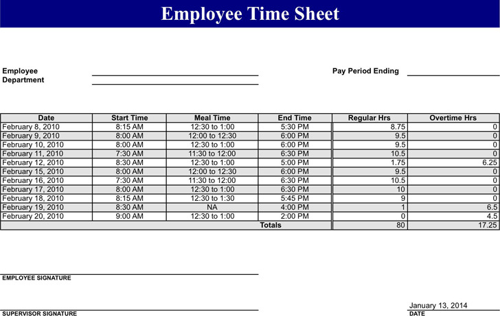 5 Employee Timesheet Template Free Download
