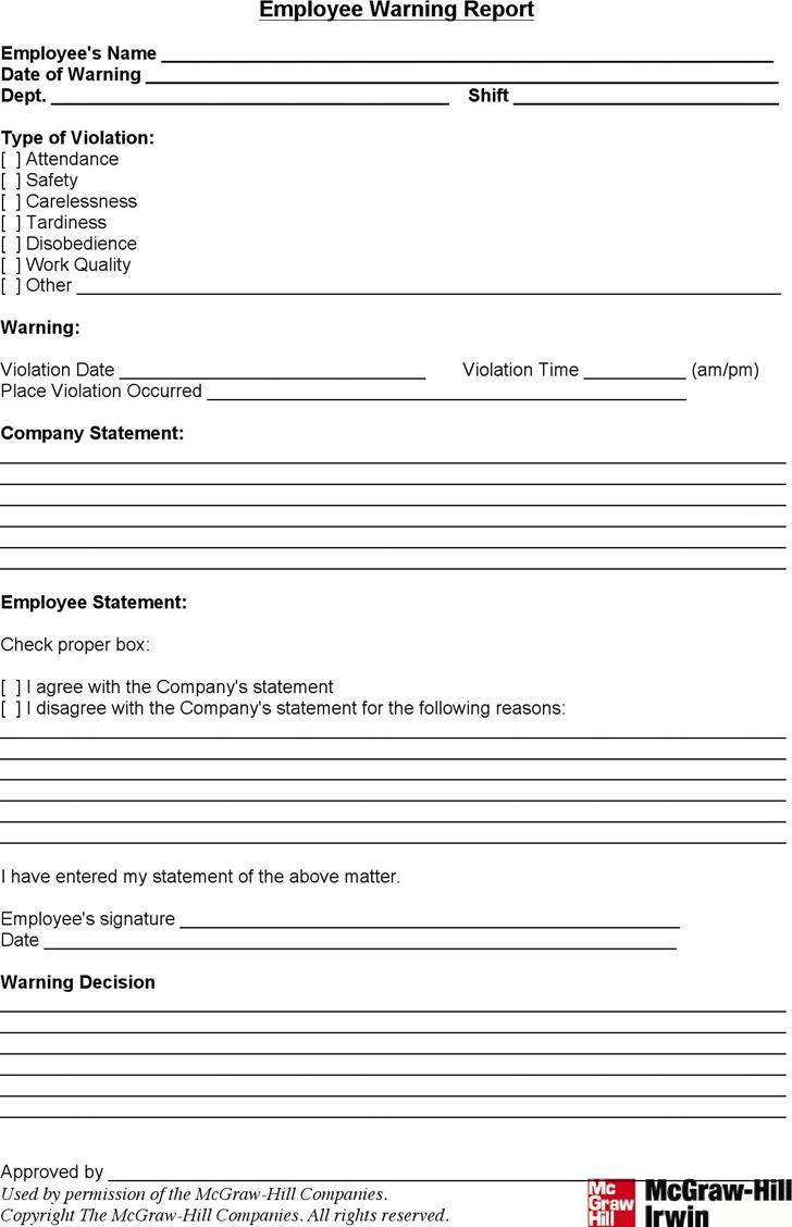 Employee Warning Report