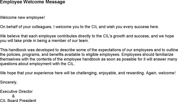 Employee Welcome Message