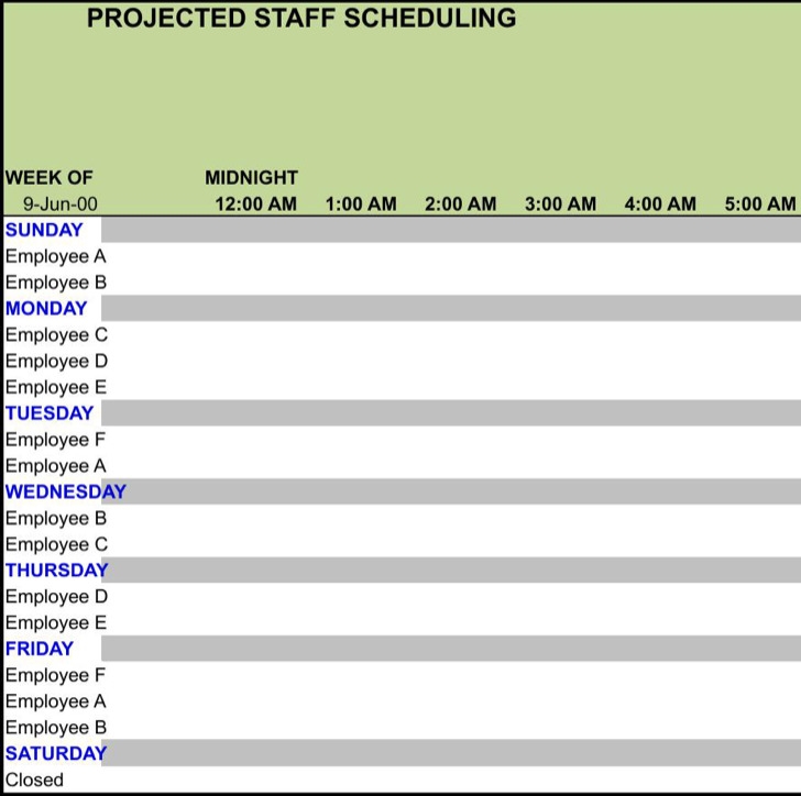 Employee Work Schedule Template Excel Format Download