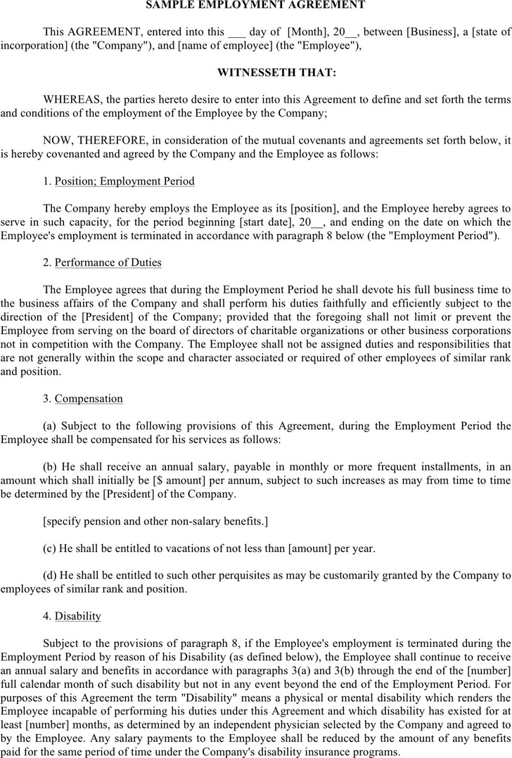 Employment Agreement Sample 3