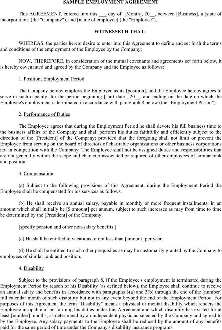 Employment Agreement Template 3