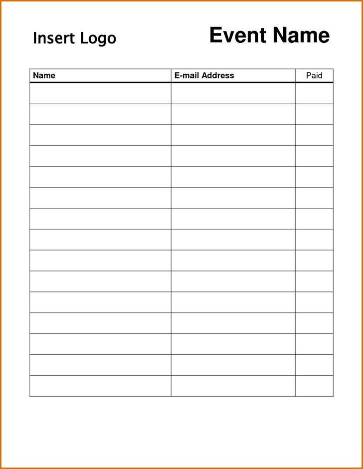 Employment Application Sign Up Sheet