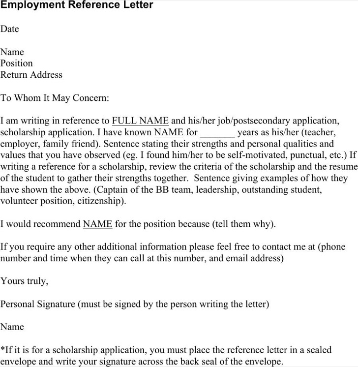Employment Reference Letter Doc