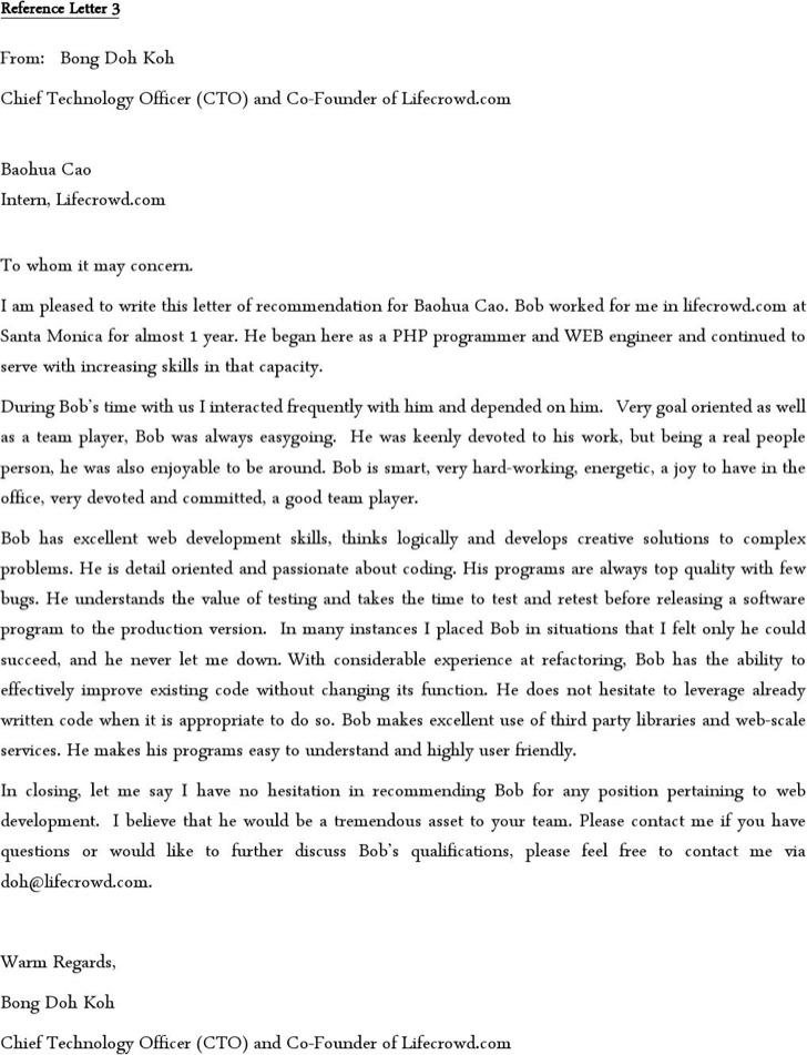 Employment Reference Letter For Software Developer