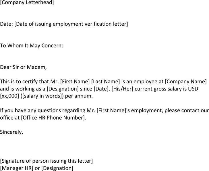 Download Employment Verification Letter Template For Free