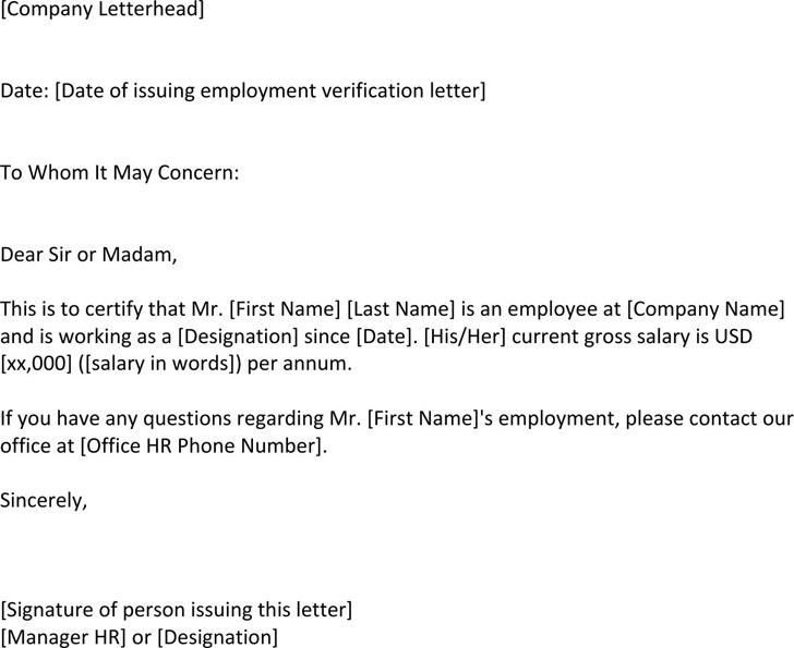 Employment Verification Letter For US Visa
