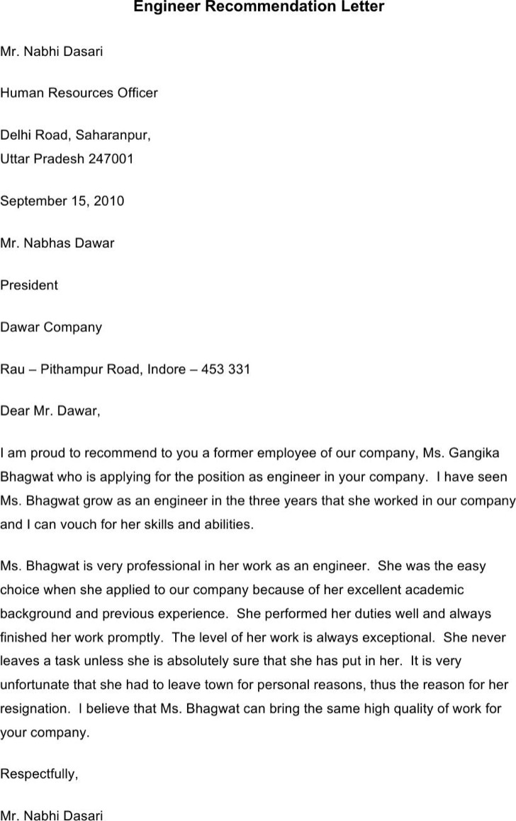engineer recommendation letter template