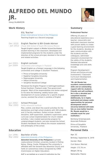 English Teacher Resume Template Word Format Download