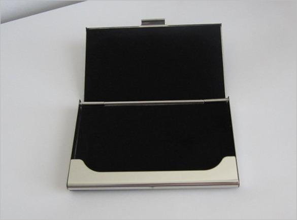 Engraved Magnetic Black Business Card Holder