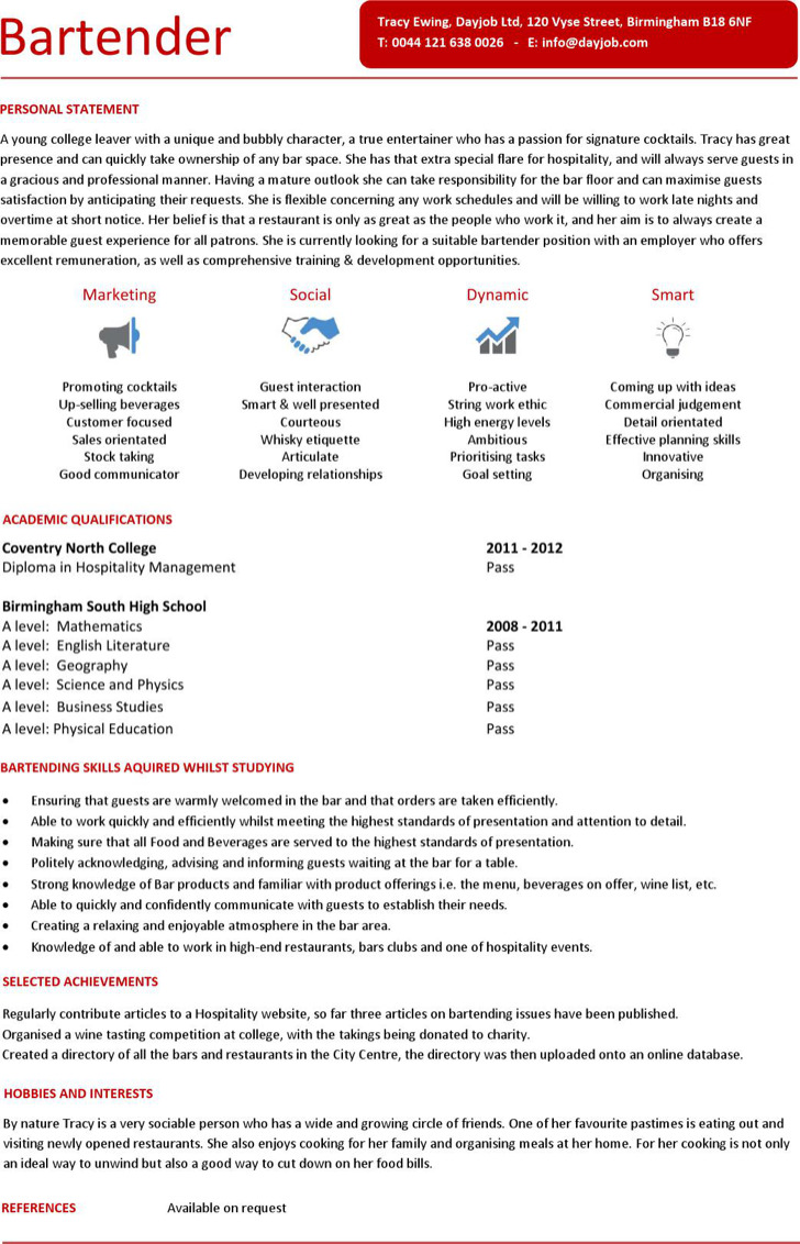 Entry Level Bartender Resume1
