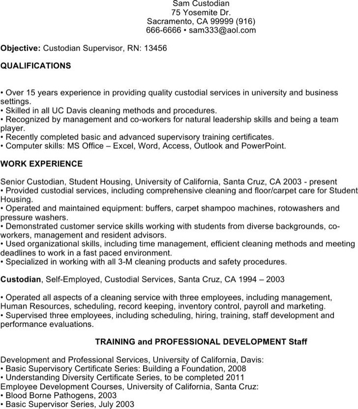 6  custodian resume templates free download