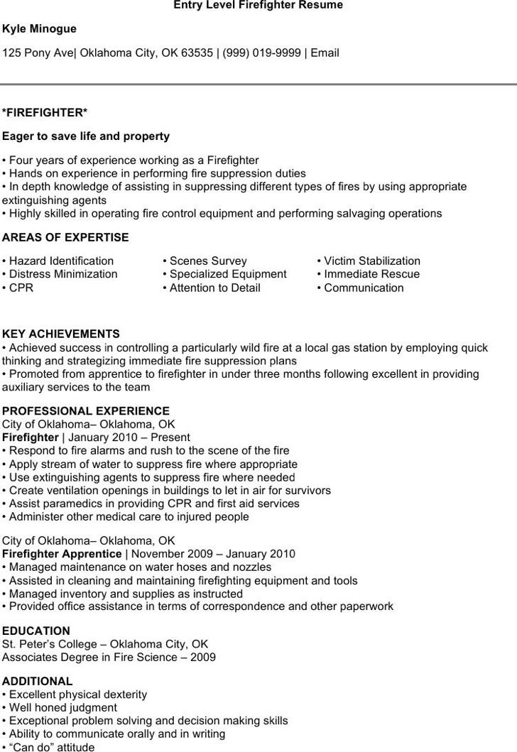 Firefighter Resume | 7 Firefighter Resume Templates Free Download
