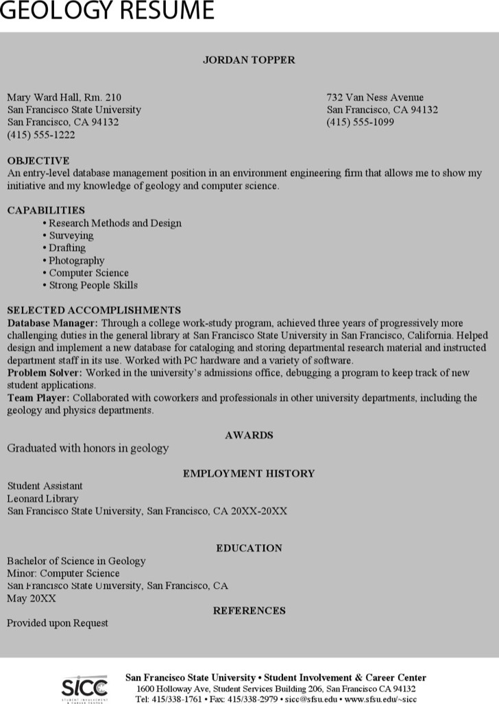 6 Geologist Resume Templates Free Download