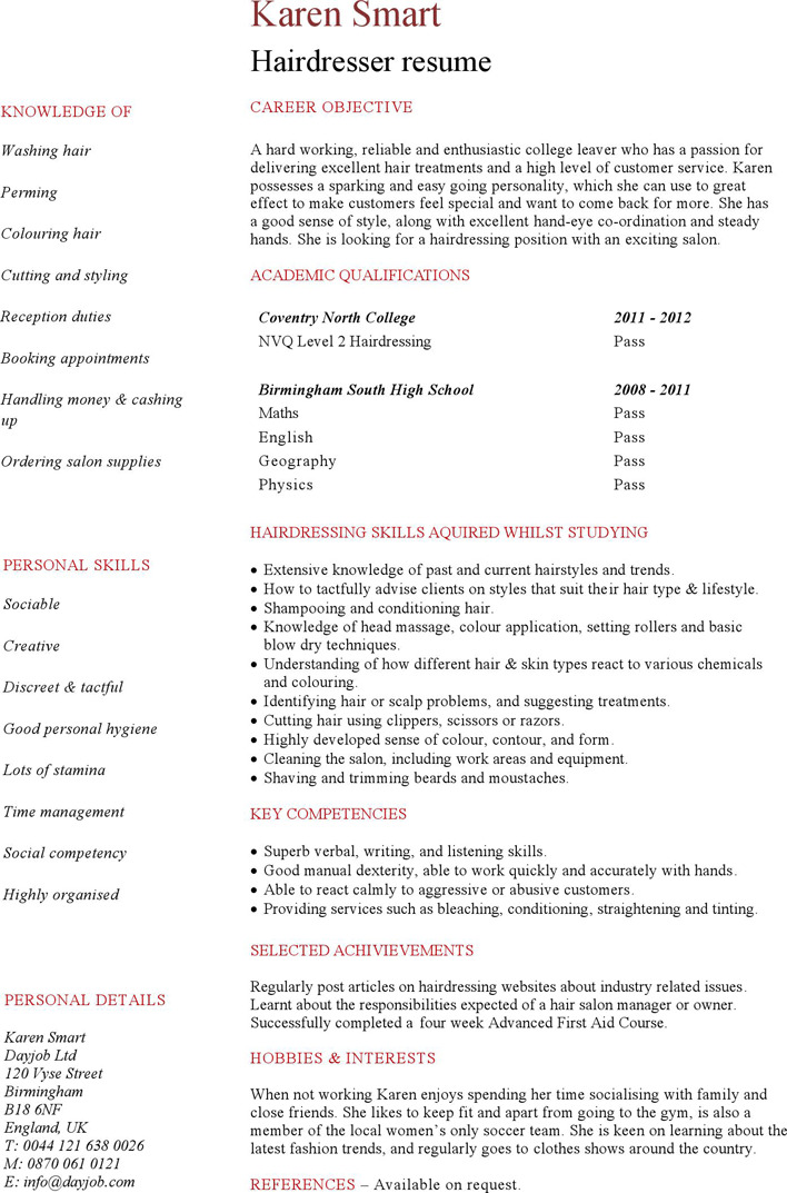 Entry Level Hairdresser Resume