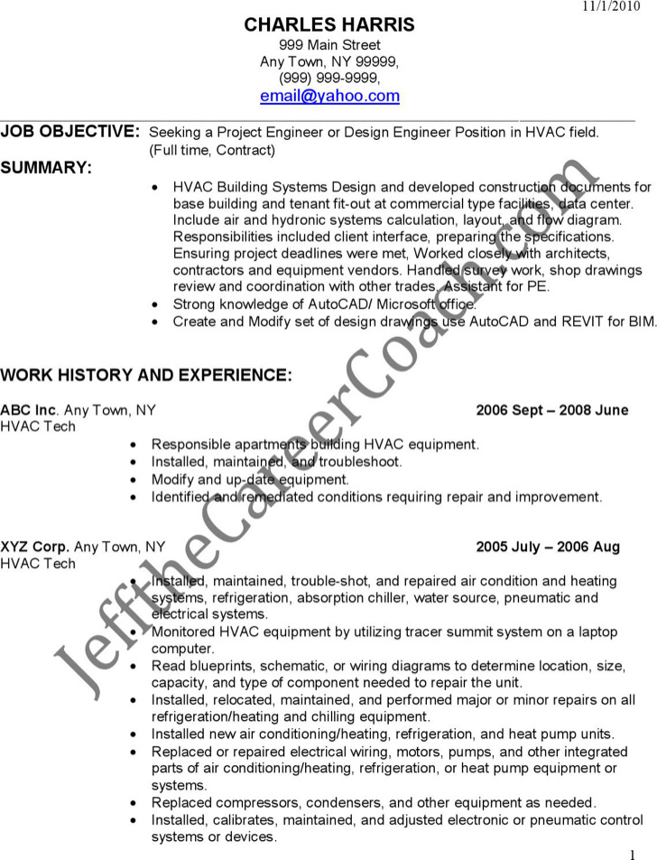 Entry Level Hvac Resume Free Pdf Download