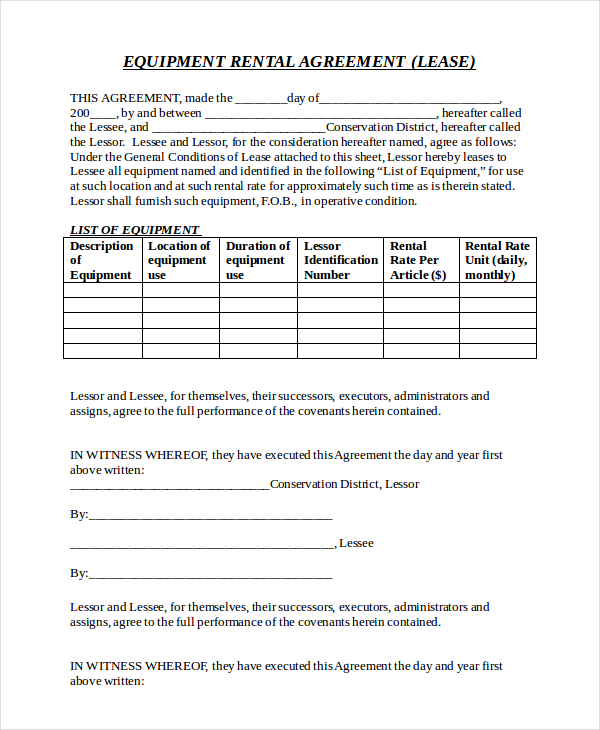 Equipment Rental Agreement Example
