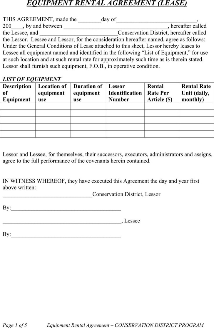 Equipment Rental Lease Agreement
