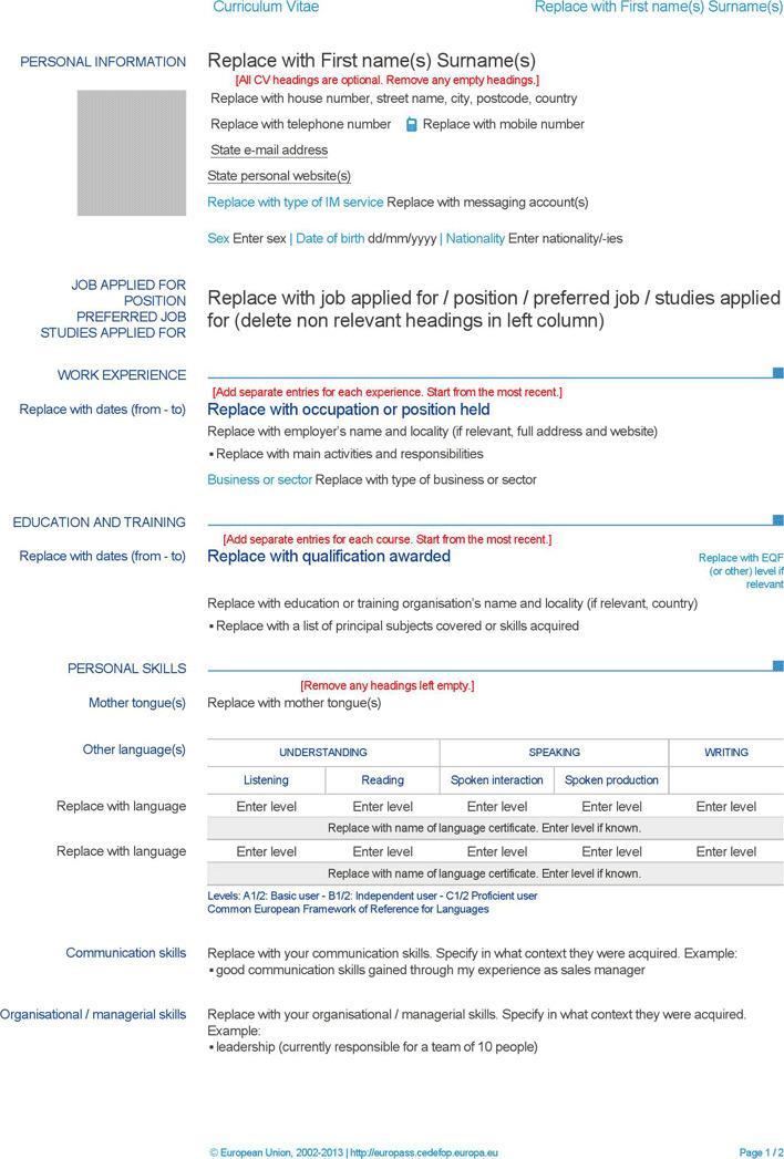 3  europass curriculum vitae free download