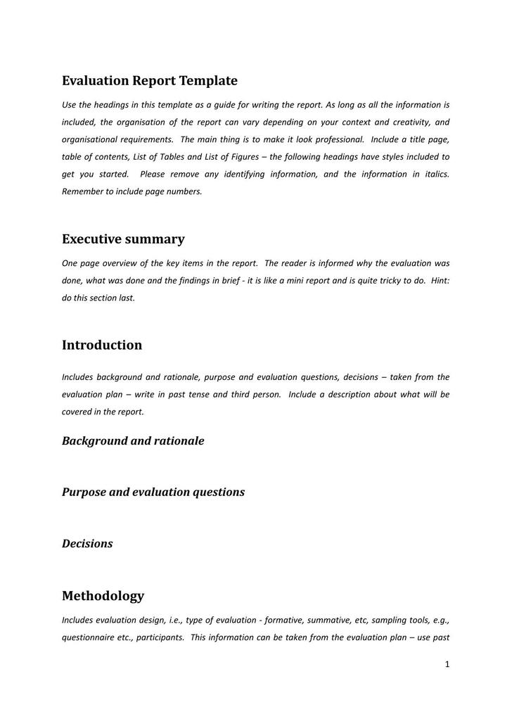 Evaluation Report Template Executive Summary PDF Format