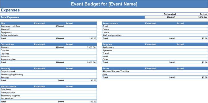 Event Budget Template 1