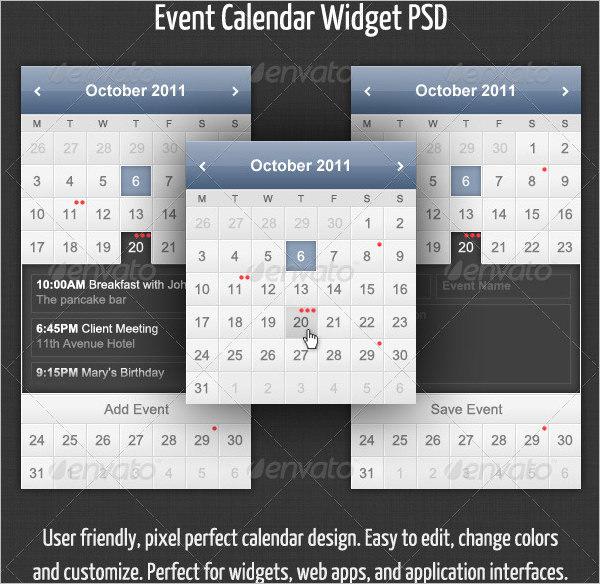 Event Calendar Widget Template