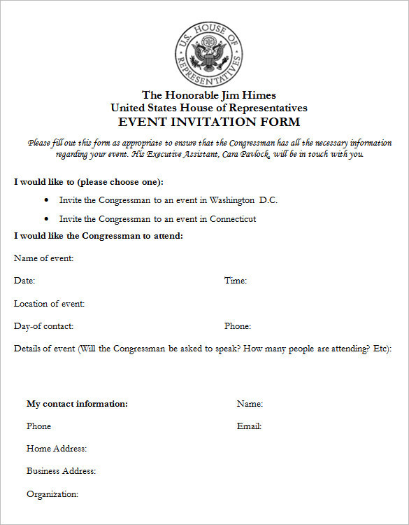 Event Invitation Form Template
