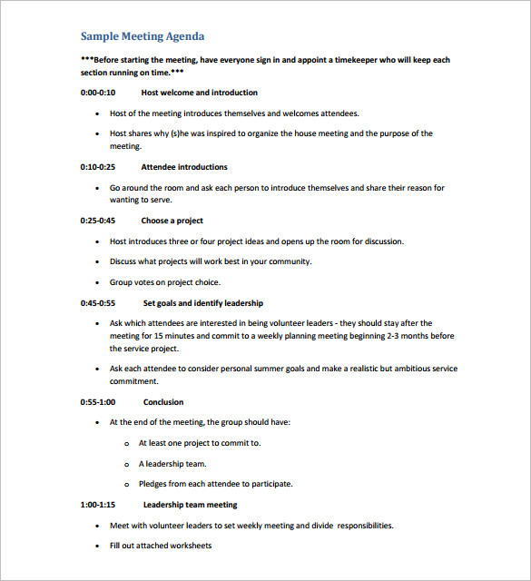 Event Meeting Agenda Schedule Template PDF Download