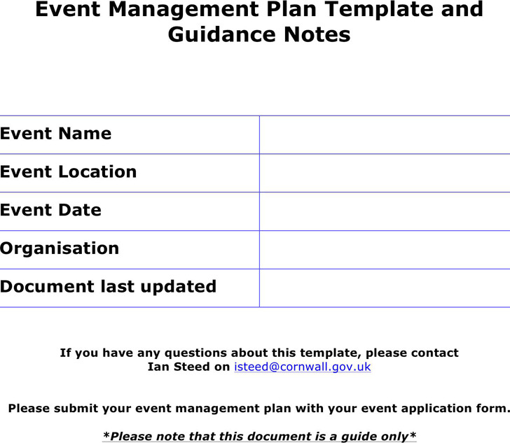 Event Management Plan Template and Guidance