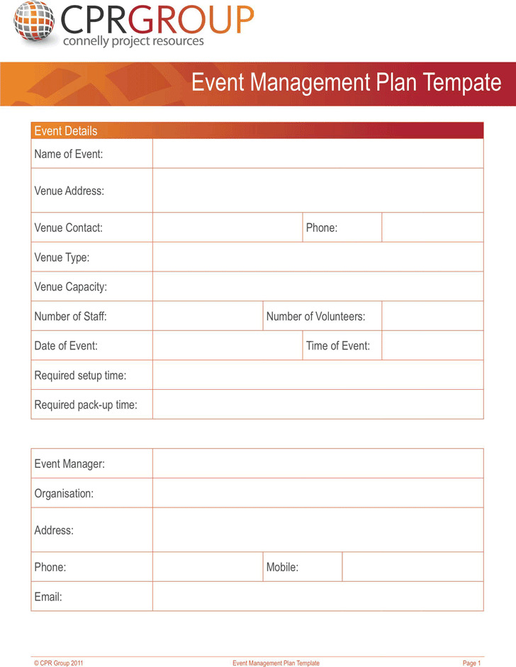 Event Management Plan Tempate