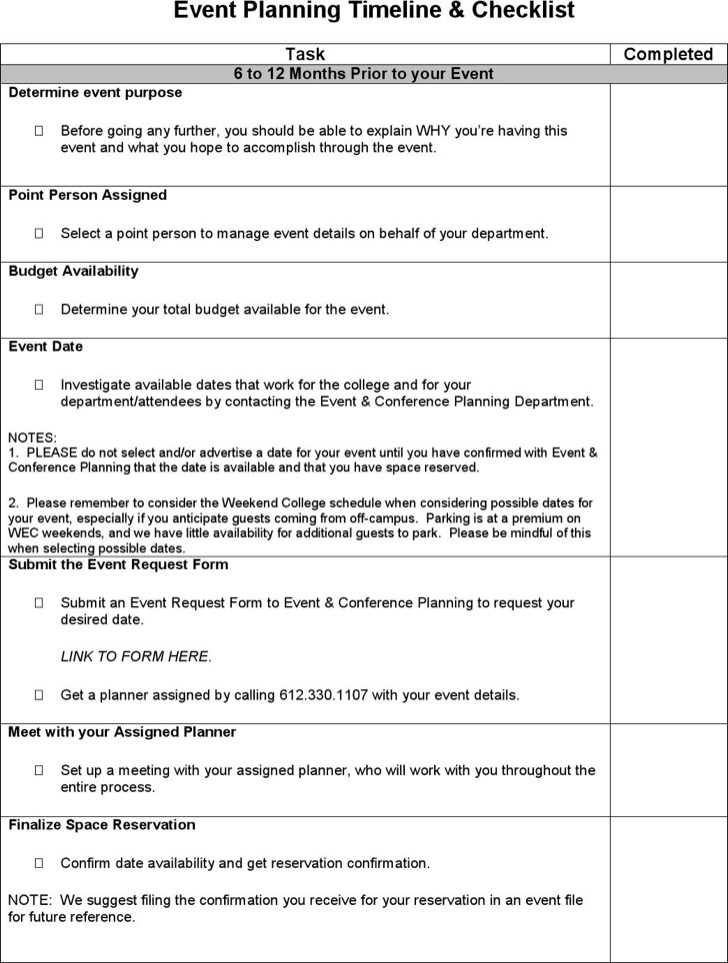 Event Planning Timeline And Checklist Template PDF