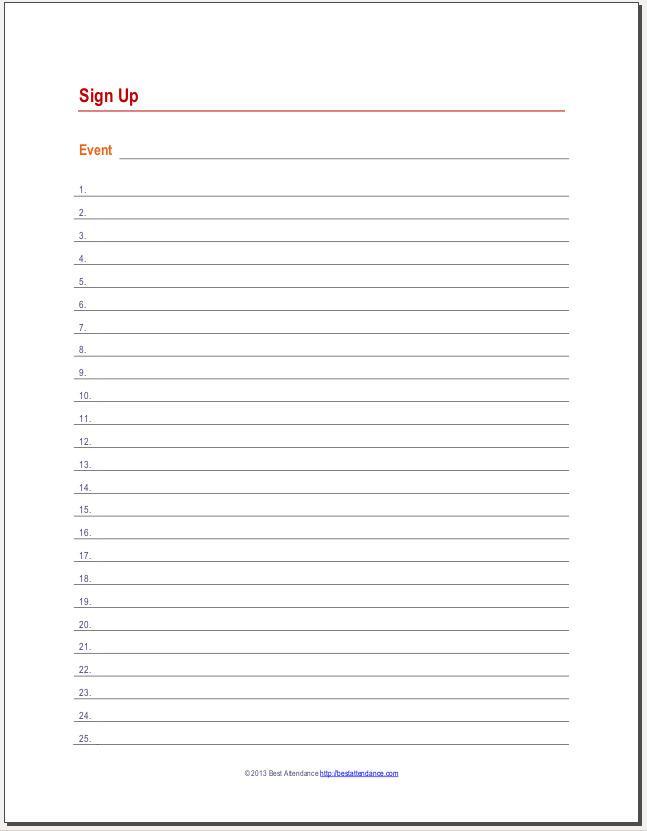 Event Sign Up Sheet