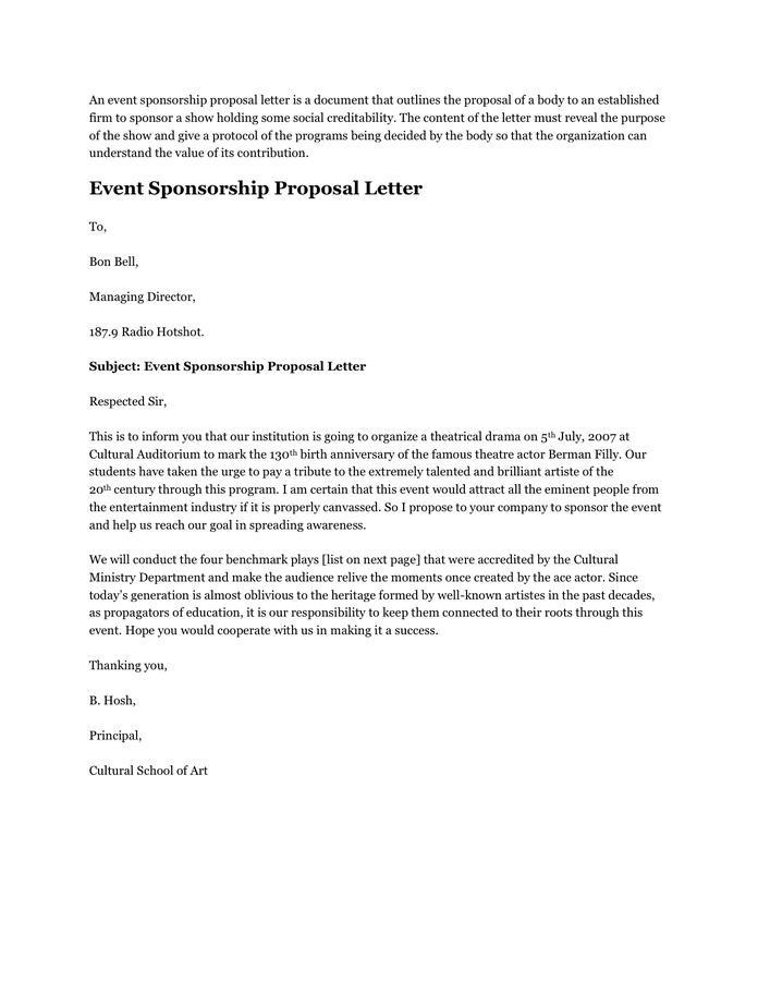 Event Sponsorship Proposal PDF Download